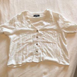 Lulu's crop button up T-shirt